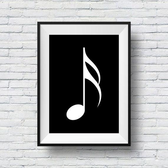 SIXTEENTH NOTE  Monochrome Musical Symbol Print by MegaprintDesign