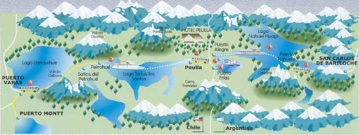 Map of Chilean Lake district