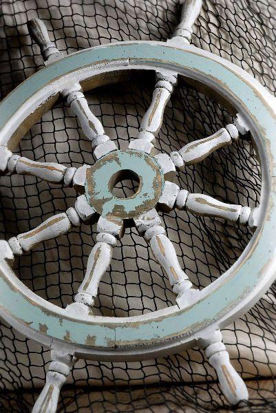 40.00-Blue & White Wood Ship Wheel 24-Inch Nautical Maritime Decor