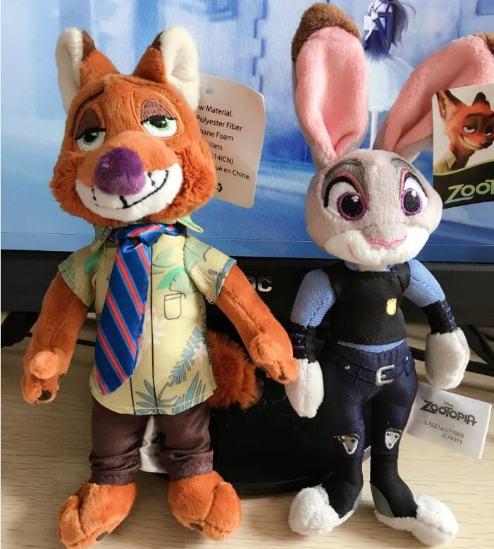 "1pcs 8"" 20cm Zootopia Plush Toy Rabbit Judy Hopps Fox Nick Wilde Movie Kids Dolls Stuffed Toys Plush Zootopia Dolls Gift"