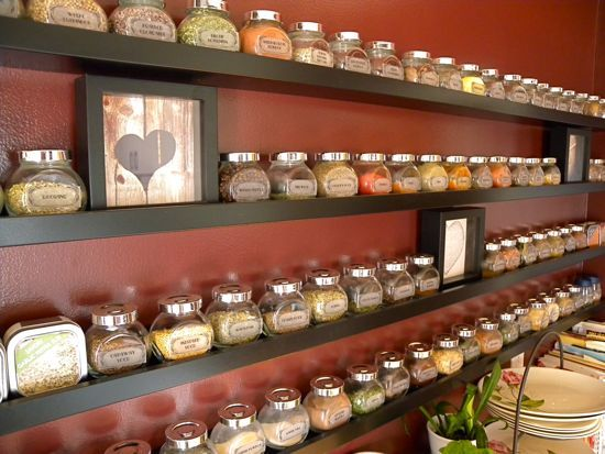 There are 4 shelves, and I counted 76 different spice containers up there. Sixty-eight of those are the Rajtan jars from IKEA that come in packs of 4 jars ...