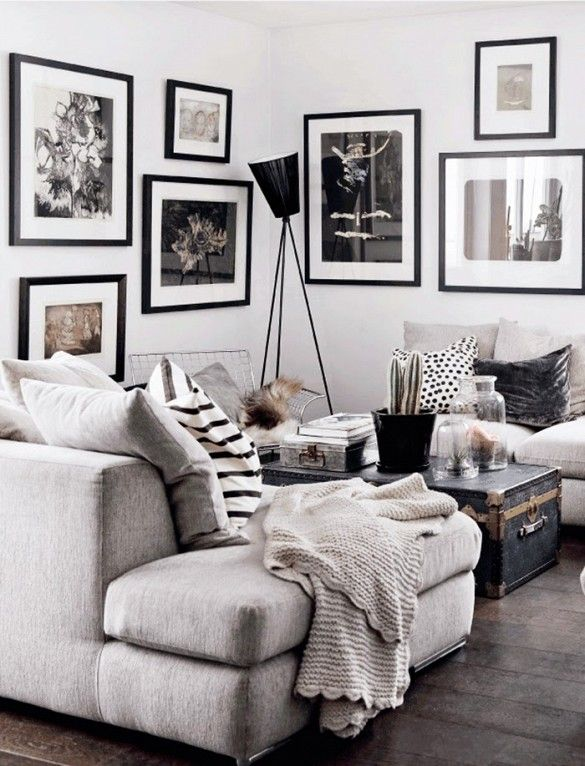 Dream home needs a dream living room, and this white, grey and black design scheme brings us straight to interior design heaven!