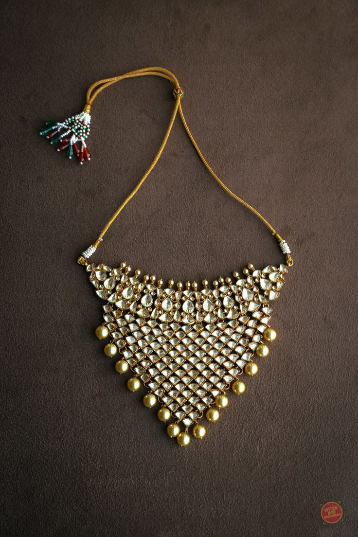 Indian Jewelry - Polki Choker Necklace with South Sea Pearls | WedMeGood  #wedmegood #indianjewelry #indianwedding #indianbride #jewelry #polki