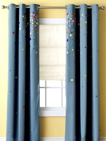 Dress up a basic window treatment by decorating it with colorful buttons! More DIY window treatments: http://www.bhg.com/decorating/window-treatments/window-projects/bargain-window-treatment-ideas/?socsrc=bhgpin060313buttonwindowtreatment=15#page=5
