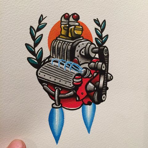 Fire power  #engine #motor #flathead #hotrod #firepower #traditional #traditionalart #tattooflash #flash #neotrad #oldschool #neotrad