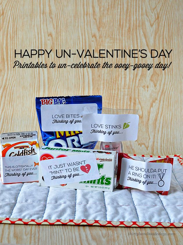 Printable Un-Valentine Printables @PlanThirtyIdeas, Valentine Day Gift, Celebrities Valentine'S, Single Girlfriends, Happy Un Valentine'S, Printables Labels, Printables Un Valentine'S, Holiday Valentine, Vday Gift