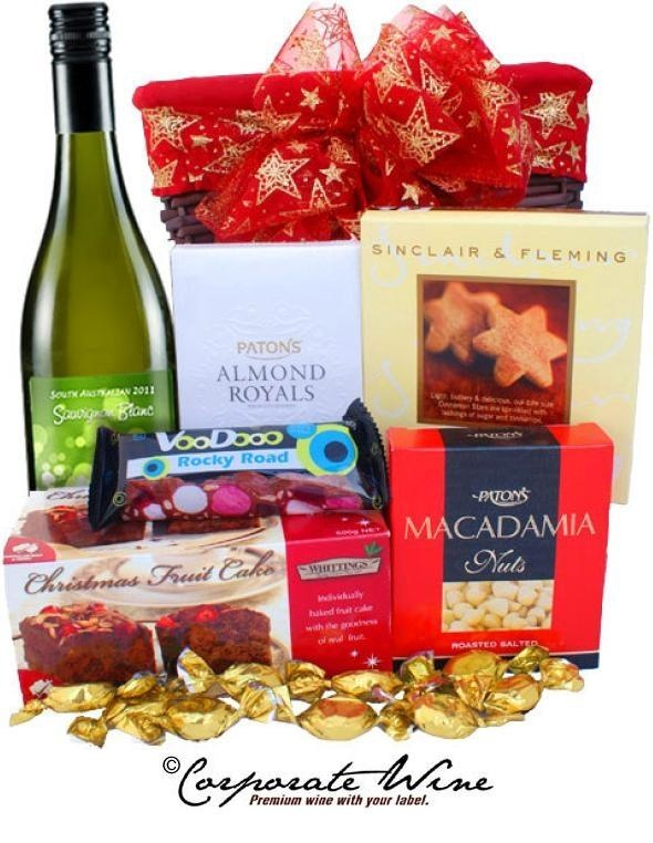Another cheery Corporate Wine Gift Hamper packed full of festive goodies, including a bottle of South Australia Savignon Blanc, all topped off with a pretty bow.