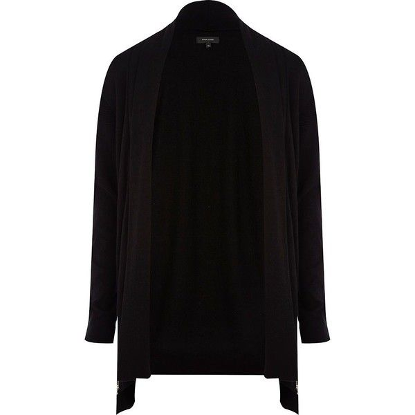 River Island Black open front zip cardigan found on Polyvore featuring polyvore, men's fashion, men's clothing, men's sweaters, cardigans, mens zip cardigan sweater, mens full zip sweater, mens zipper sweater and mens cardigan sweaters