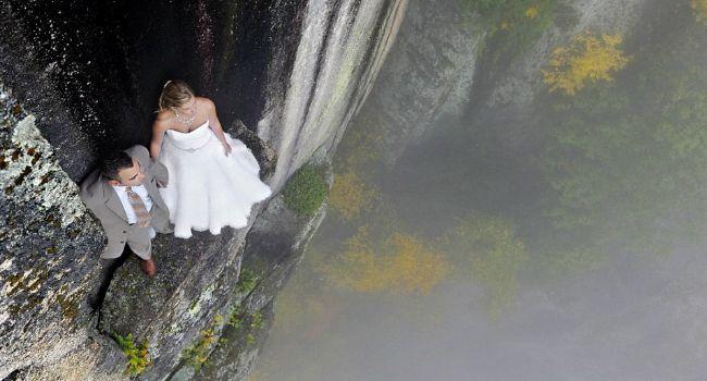 Fotógrafo Faz Ensaio De Casamento Em Penhasco a Mais De 100 Metros De Altura