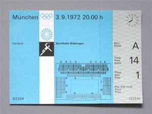 Munich Olympic Handball (Boblingen) Ticket, 1972