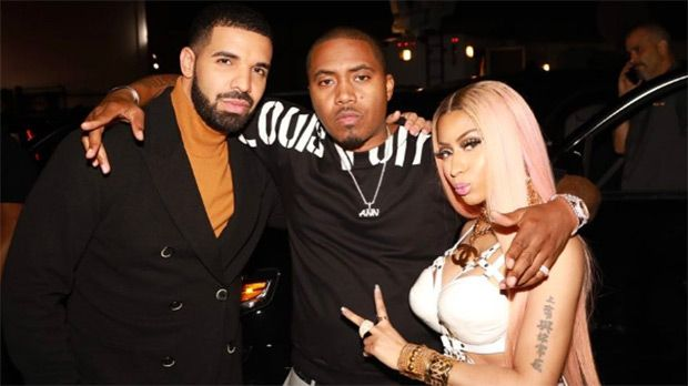 Talk about an iconic trio! Drake, Nicki Minaj and Nas posed for a photo together at the NBA Awards, sparking speculation of a relationship between Nicki and Nas once again. Is Drake third wheeling?…