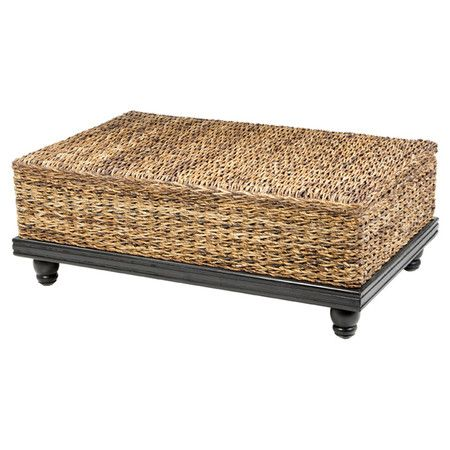 British Colonial Style Coffee Table With A Hand Woven Natural Abaca