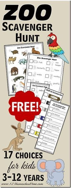 ♥️♥️ FREE Zoo Scavenger Hunts ♥️♥️ 17 different choices for kids from Toddler, Preschool to Kindergarten through 6th grade!  These are perfect for fieldtrips and trips to the zoo!
