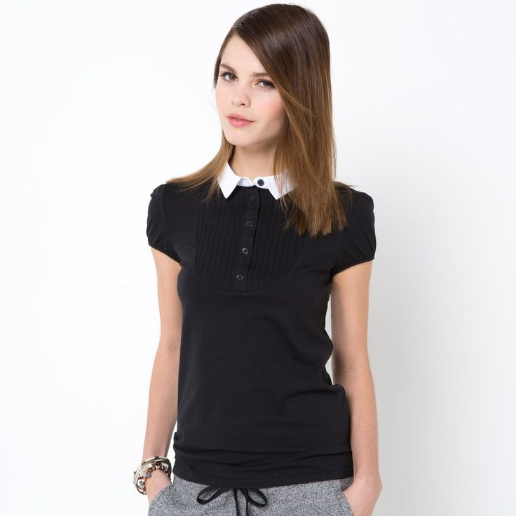 Short-Sleeved Dual Fabric T-Shirt
