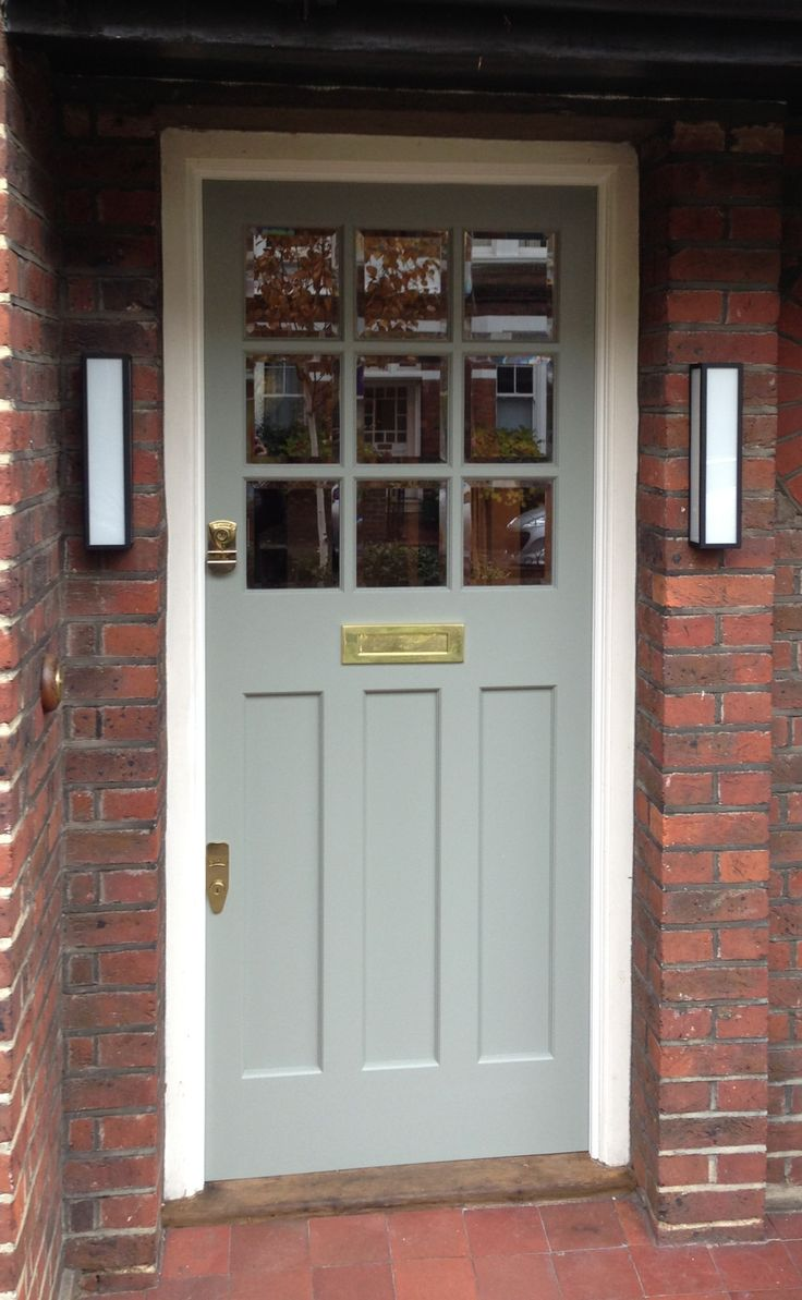 An elegant and effortless 1930's door in Farrow & Ball Pigeon no. 25 Exterior Eggshell, south London