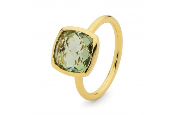Fancy cushion cut green amethyst ring, set in yellow gold.  Also available in Blue Topaz and Purple Amethyst.