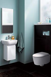 Keramag 4U  Auch für Gäste-WCs finden Sie die richtigen Produkte in der vielfältigen Bad-Serie 4U.  Ob Handwaschbecken, wahlweise mit Unterschrank, Eckhand-  waschbecken oder wandhängendes Tiefspül-WC mit verkürzter Ausladung von 490 mm - 4U ist für jede Raumsituation die richtige Lösung.