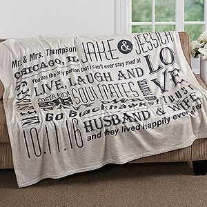 LOVE this anniversary gift idea! It's a personalized blanket that you can add all of the most important dates, places, inside jokes, and whatever you want! It comes in 4 colors, too! So cute and romantic!