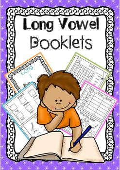 Long vowel practice in booklet form! These booklets are perfect for practicing a e i o u sounds with Kindergarten students. It will help them practice their reading and spelling skills in a fun way.Cut and assemble into booklets and you are ready to teach long vowel sounds!Each booklet contains the same format- Vowel Front Cover- Trace the vowel- Read/ Write and Stamp- Write the word- Draw it- Fill the missing letters- Find the words (words search)- Color the vowel sounds- a e i o u…