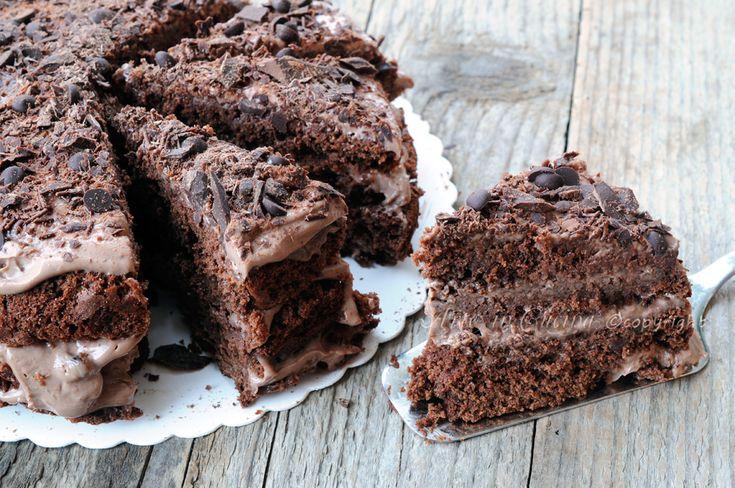 Torta nutellotta cioccolotta alla ricotta, dolce facile e veloce, ricetta napoletana, dolce da merenda, colazione, torta al cioccolato golosa, farcitura alla nutella