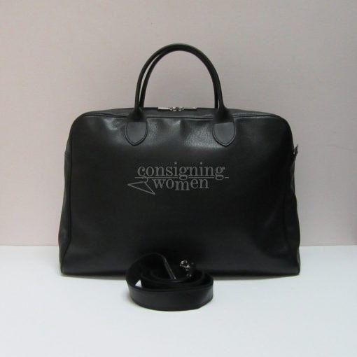 Longchamp black leather Veau Foulonne rounded briefcase, optional strap.