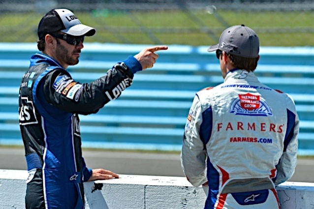 Caption this photo of Jimmie Johnson and Kasey Kahne. Winner will be announced on Sept. 10.