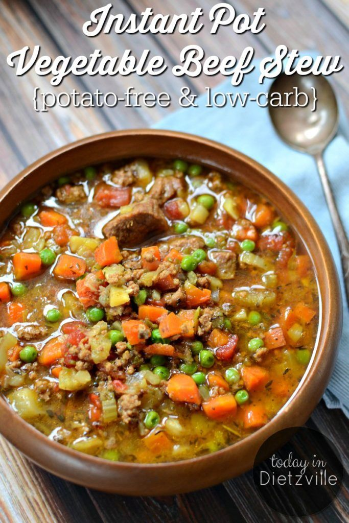 Instant Pot Vegetable Beef Stew {potato-free & low-carb}   Full of nourishing broth, colorful cooked veggies, and pastured meat, this is one nutrient-dense, healing stew! And perhaps best of all? Without potatoes, it's much friendlier to your blood sugar than traditional beef stew.   TodayInDietzville.com