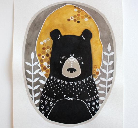 Honey Bear Illustration Painting  Animal Watercolor Art  by RiverLuna