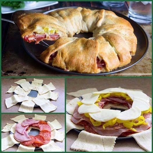 Italian Crescent Roll 2 cans (8 oz) Pillsbury crescent dinner rolls. provolone cheese, salami, ham, capocollo Heat oven to 375°F. Unroll both cans of dough On ungreased 12-inch pizza pan, arrange rectangles in ring so short sides form a circle in center. Top with filling. Bake 18 to 22 minutes or until dough is golden brown and thoroughly baked.