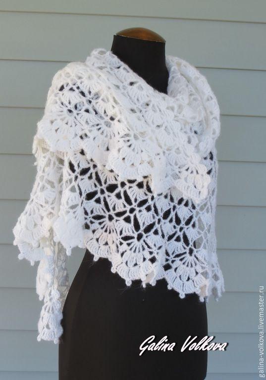 Купить Вязаная ажурная шаль Свадебная Белая. - белый, шаль, белая шаль, свадебная шаль