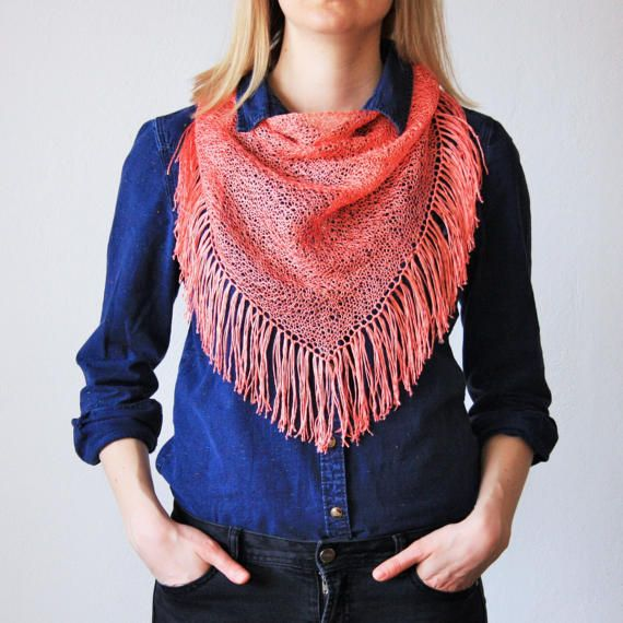Salmon Pink Tassels Triangle Scarf / Hand Knitted by RUKAMIshop
