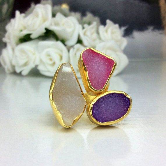 Gold Plated Gemstone Ring, Fine Silver Bezels, Sterling Silver, Handmade Ring, Rhodium Plated, Handcrafted Jewelry, Druzy Agate Ring.