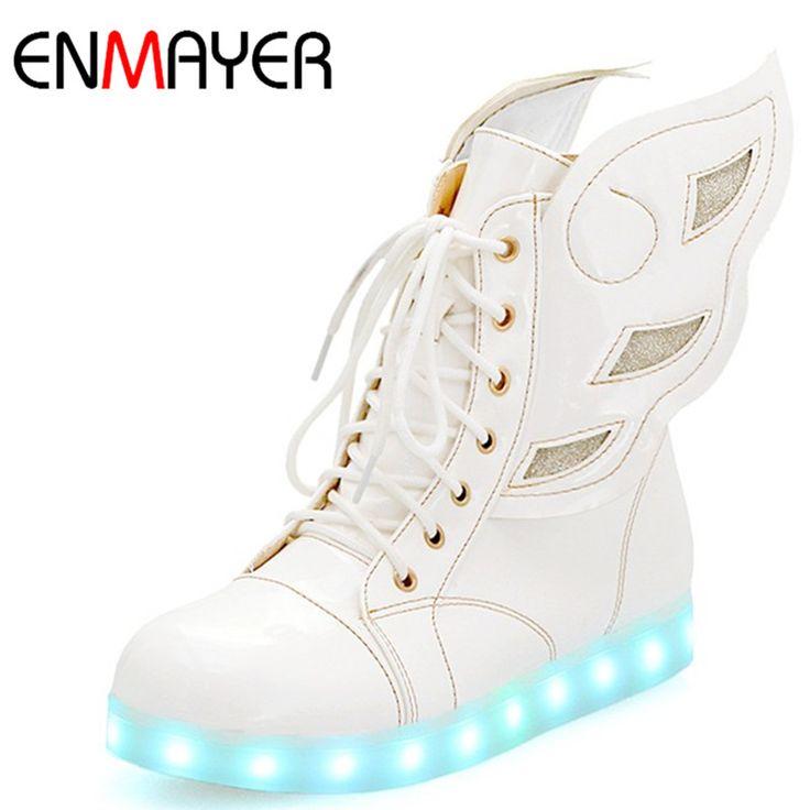 Купить товарENMAYER Новые Золотые Туфли Ботильоны для Женщин Зимние Ботинки белые Туфли Танца ПОД РУКОВОДСТВОМ шнуровке Повседневная Обувь Квартиры Сапоги Размер 34 46 в категории Сапоги и ботинкина AliExpress. ENMAYER High Heels 2 Colors White Shoes Woman Lace-up Winter Boots Shoes Mid-calf Boots ShoesRound Toe Platform Shoes Si