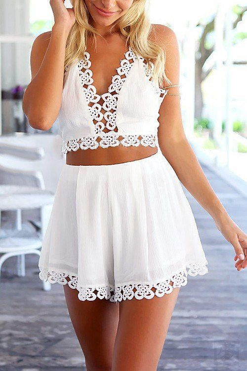 Plunge Hollow Out Halter Top & Mini Shorts Co-ord