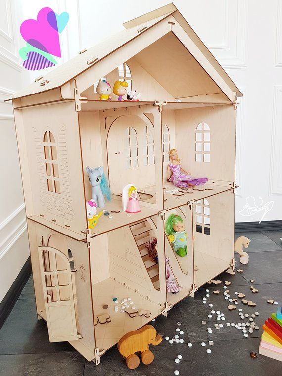 Large 3 Story Wooden Barbie Size Dollhouse In Waldorf Montessory Unassembled Diy Construction Kit Accessory For Barbie Sized Dolls Kids Gift Doll House Wooden Dollhouse Diy Dollhouse