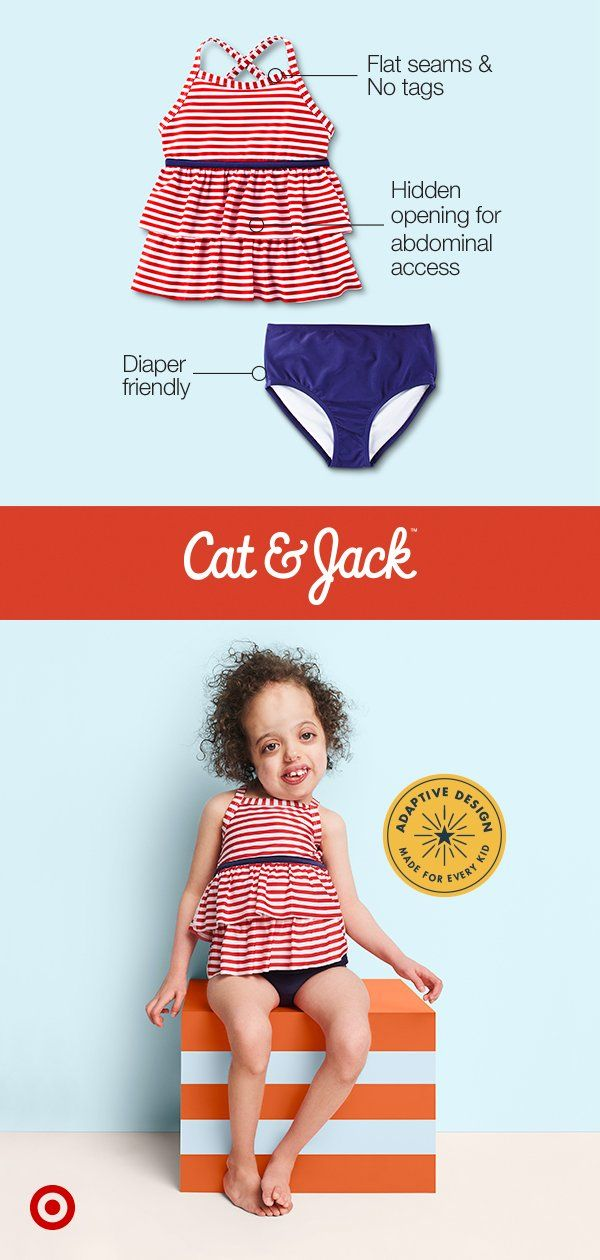 5d2762ba2 Keep your kiddo feeling cute and confident with Cat & Jack's adaptive  swimwear collection.