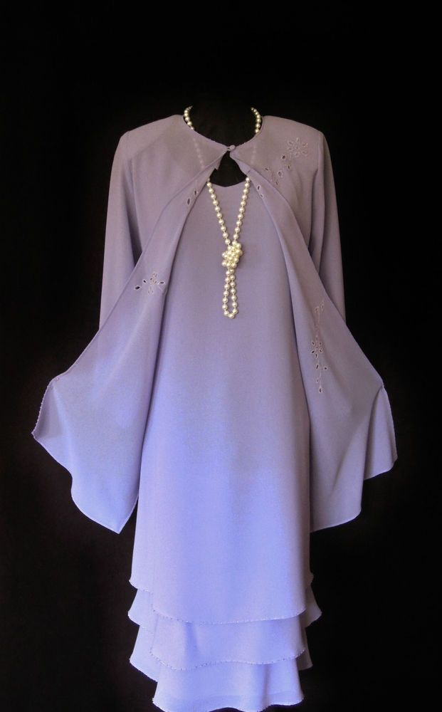 GINA BACCONI lilac, layered, floaty Dress and matching floaty Jacket with pretty floral cut out and delicate sparkling bead detail, size UK14