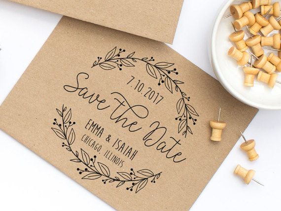 This lovely save the date stamp is elegant and shows off a love of the outdoors…