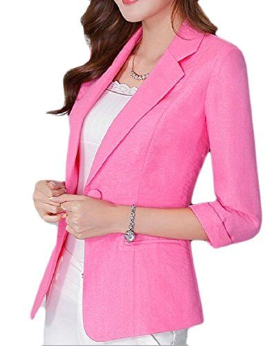 FLCH YIGE Women Fashion Pure Color 3 4 Sleeve Slim One Button Short Suit  Jacket 8c1f3063a2