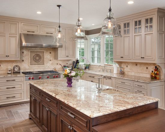 , Traditional Kitchen With Admirable Off White Kitchen Cabinets Also Brown Kitchen Island With Beige Marble Countertop And Classic Faucet Design Also 3 Antique Pendant Lights Also Cool Laminate Floor Design: Off White Kitchen Cabinets that Suit Your Kitchen