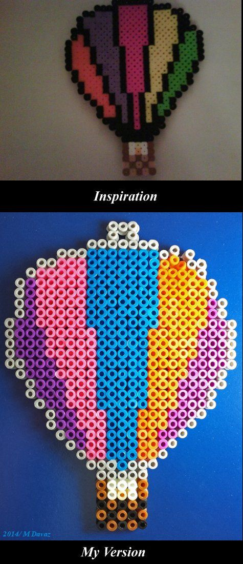 Perler Bead Hot Air Balloon. Read about it on my blog, Studio Window. Inspiration from Perler: http://www.eksuccessbrands.com/perlerbeads/gallery/?m=August&y=2011&page=10