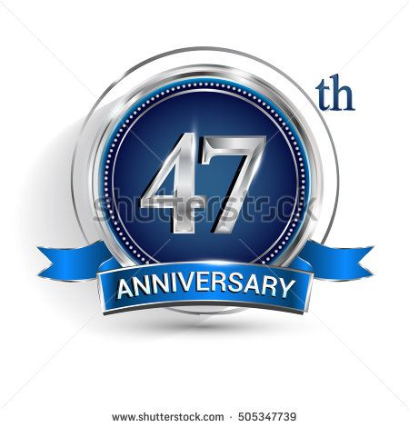 Celebrating 47th anniversary logo, with silver ring and blue ribbon isolated on white background.