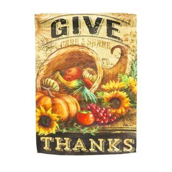 Give Thanks cornucopia garden flag suede 12.5 x 18