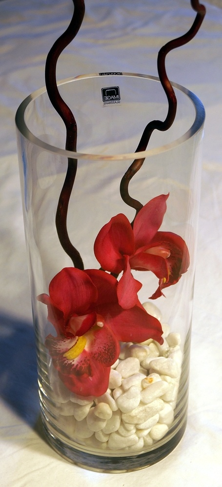 Tall Vase with White Rocks & Fushia Orchids + Twigs - $30.00