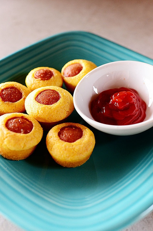 Tailgating food: corn dog muffins. Looks weird, but I can totally see these being made into eyeballs for halloween!