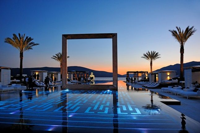 The beach club pool at Purobeach Porto Montenegro (www.portomontenegro.com), which sits in Montenegro's dramatic Bay of Kotor.