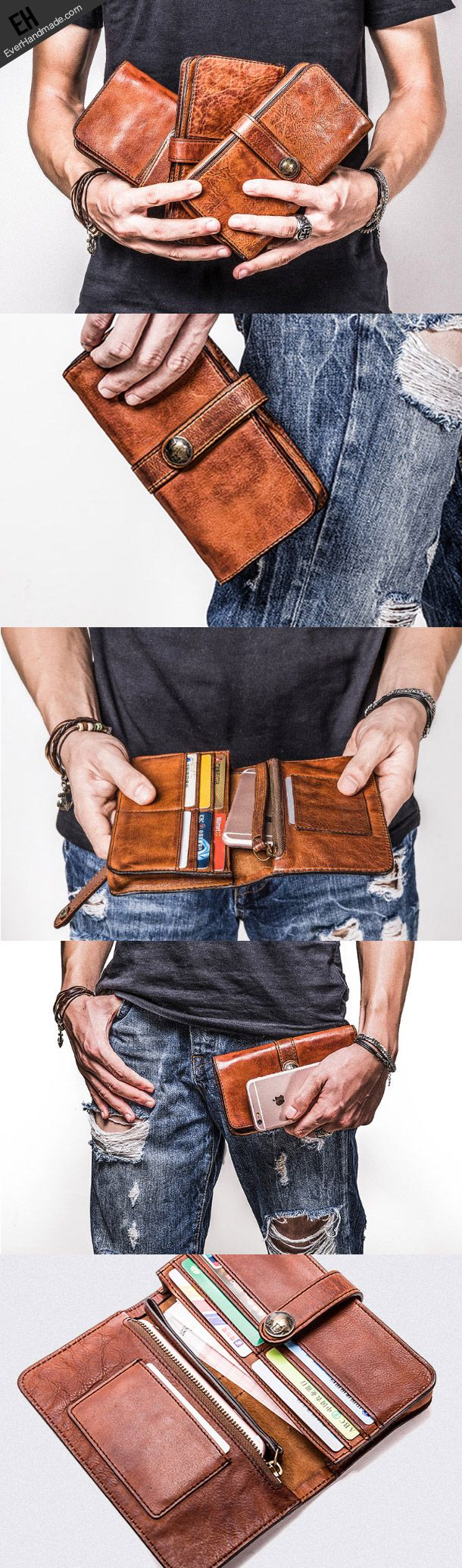 Supernatural Style | https://pinterest.com/SnatualStyle/  Handmade long wallet leather men phone clutch vintage wallet for