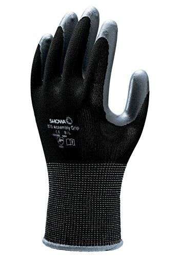 From 3.99 Showa 370m Black Black Nylon Backing Fabric Protective Glove With Nitrile Coated Palm Black M