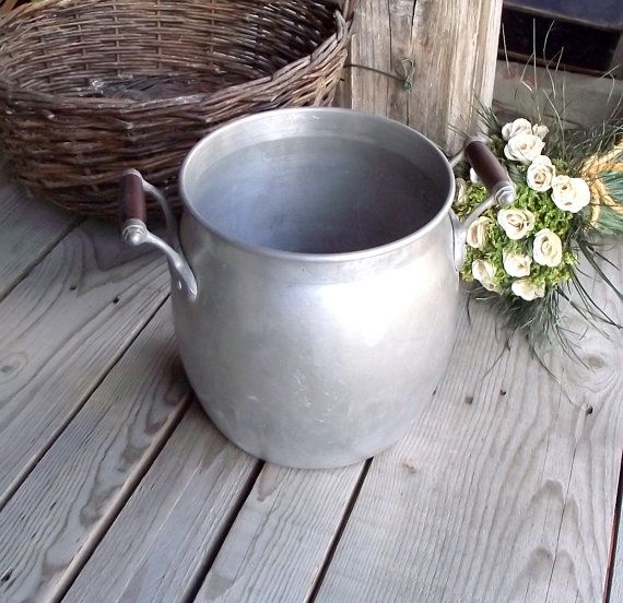 Vintage Aluminium Stockpot - French Vintage Pot - Tournus - Made in France - Rustic Flower Vase - French Country Decor