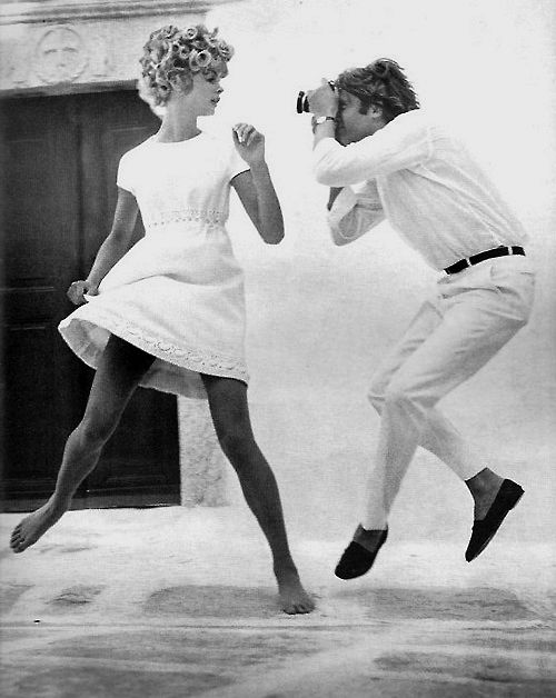 """richard avedon's """"the shrimp at sea,"""" with jean shrimpton and jeanloup sieff for US vogue, january 1967"""